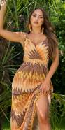 Sexy Boho Style Maxi Dress with zig zag pattern
