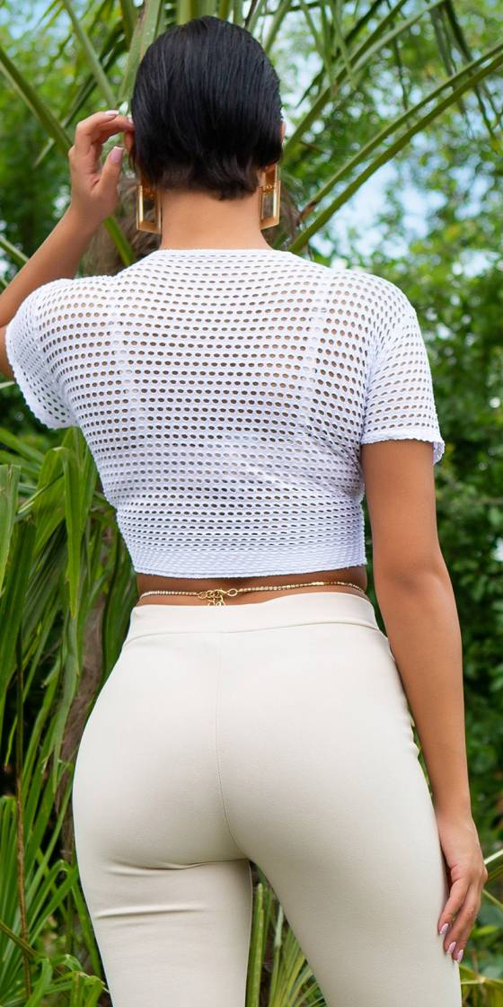 Sexy Net Cropped T-Shirt to...