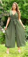 Sexy Pleated Chiffon Jumsuit with Belt