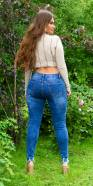 Curvy Girls!Sexy Mid Waist Used-Look Jeans