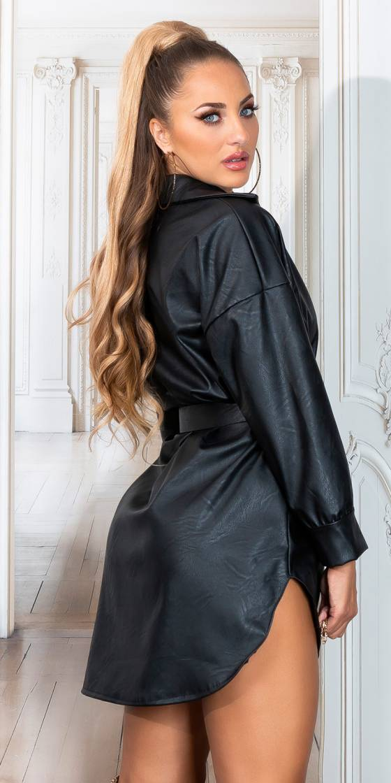 Sexy Faux Leather Shirt Dress