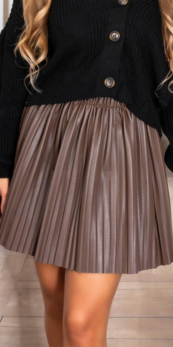 Sexy Faux Leather pleated...