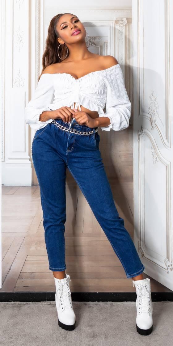 Jeans taille haute avec...