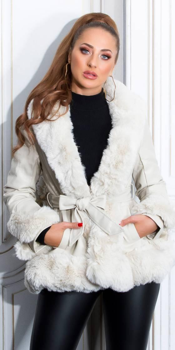 Manteau fashion en simili cuir