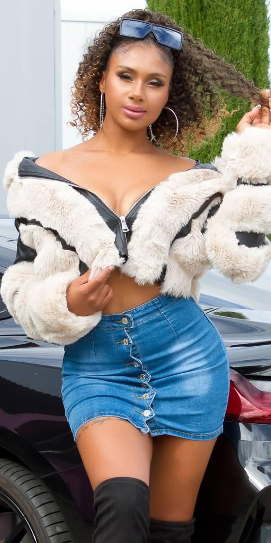 Mini-jupe boutonnée tendance