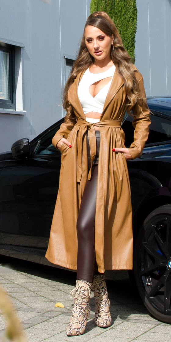 Sexy Faux Leather Coat with...
