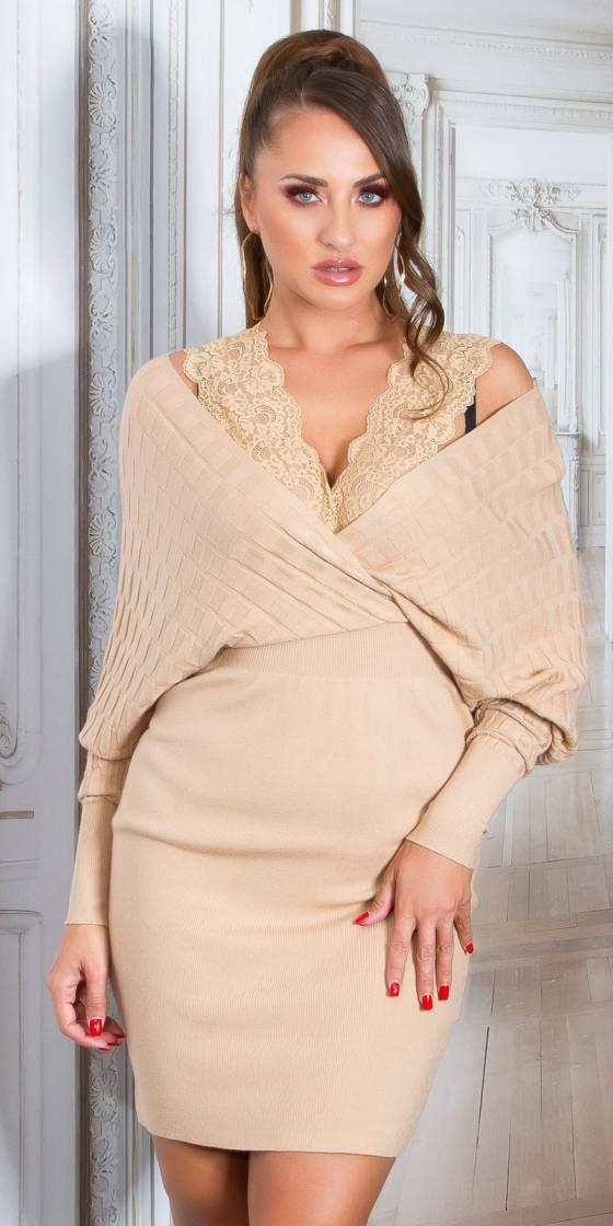 Sexy V-Neck Knit Dress with...