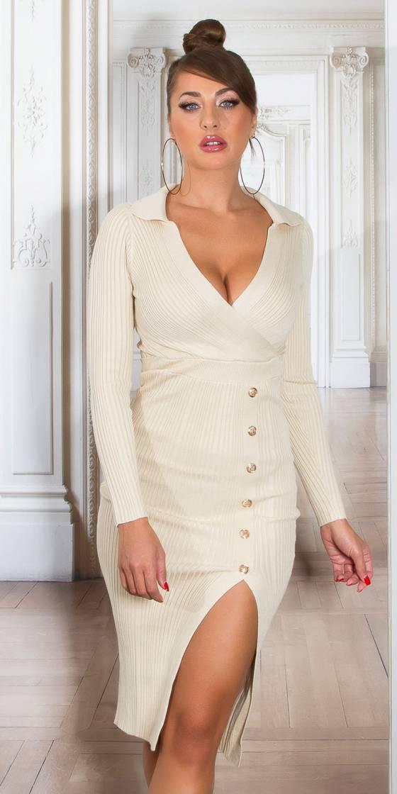 Sexy V-Neck Midi Knit Dress