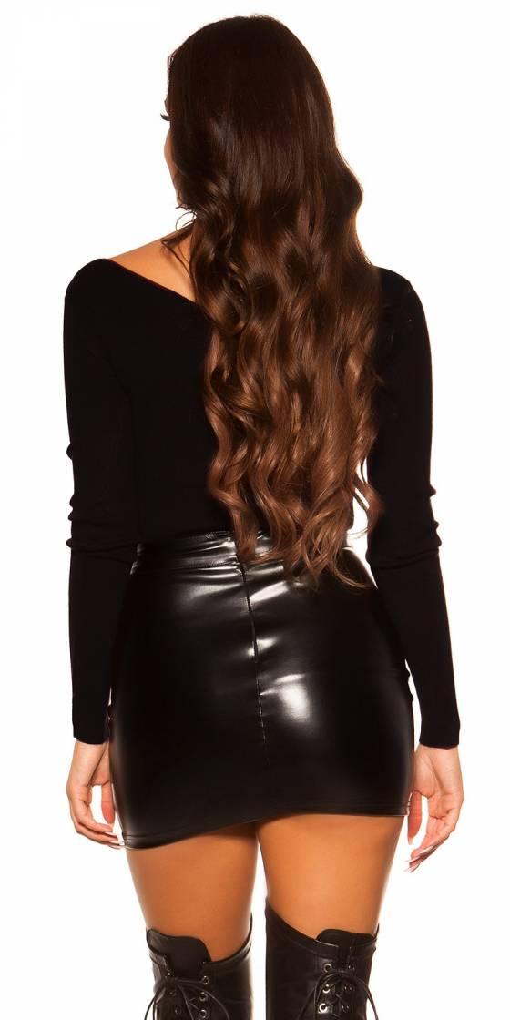 Short tendance fashion LAURA avec ceinture couleur noir