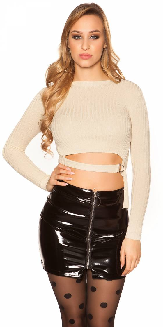 Sexy crop sweater with buckle