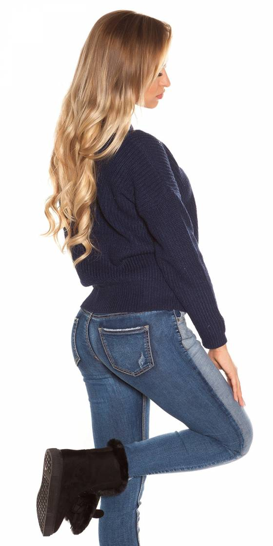 Top femme sexy tendance CARMEN couleur bleu foncé
