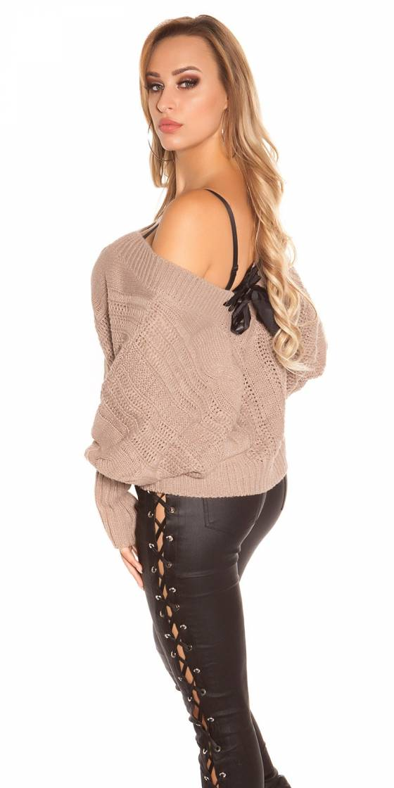 Pull large sexy en maille...