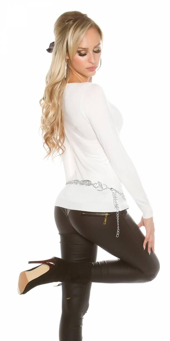 Long pull femme tendance fashion DENA couleur gris/blanc