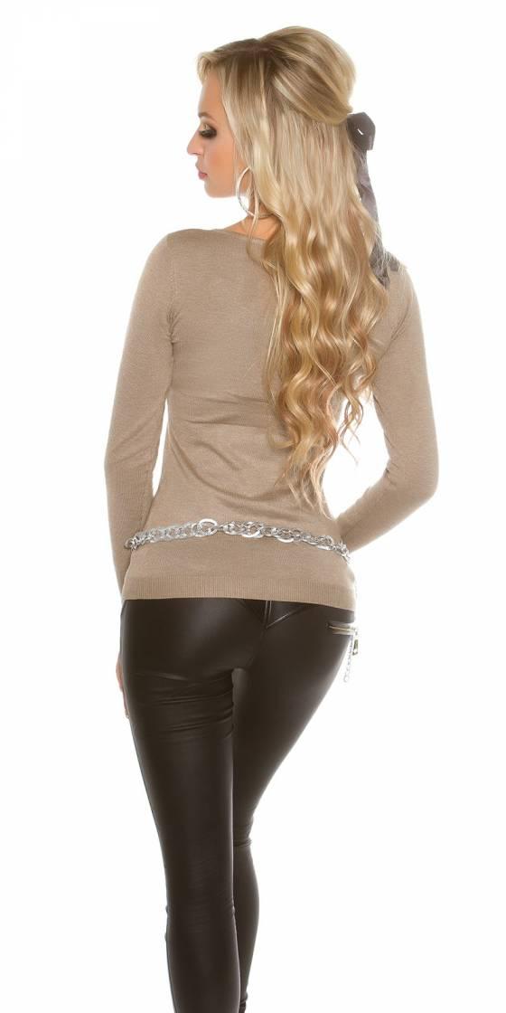 Long pull femme tendance fashion DENA couleur gris