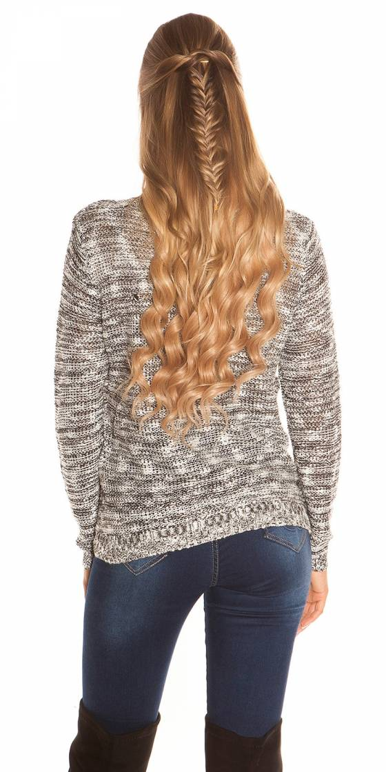 Trendy knit sweater with zips