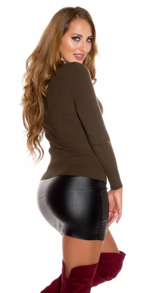 Sexy wrap look sweater deco...