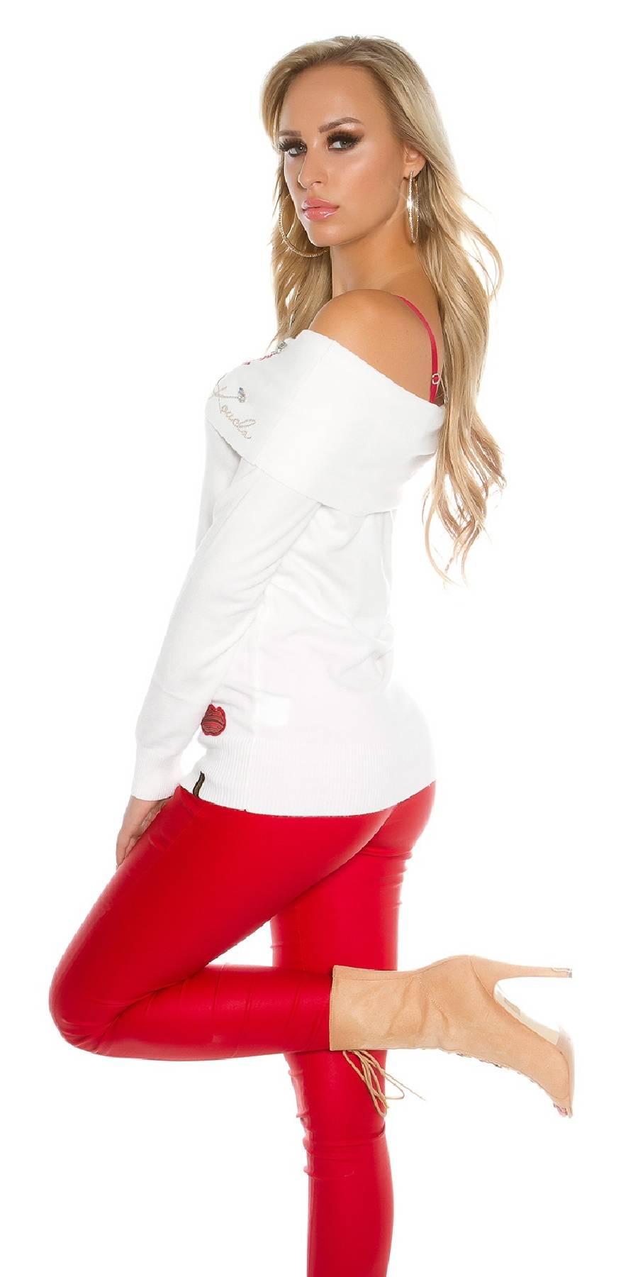 Pull femme sexy fashion EMMA couleur blanc