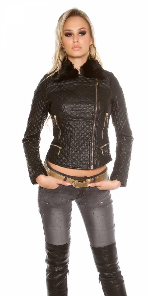 Veste en cuir look motard...