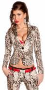 Blazer sexy KouCla ajusté en imprimé léopard