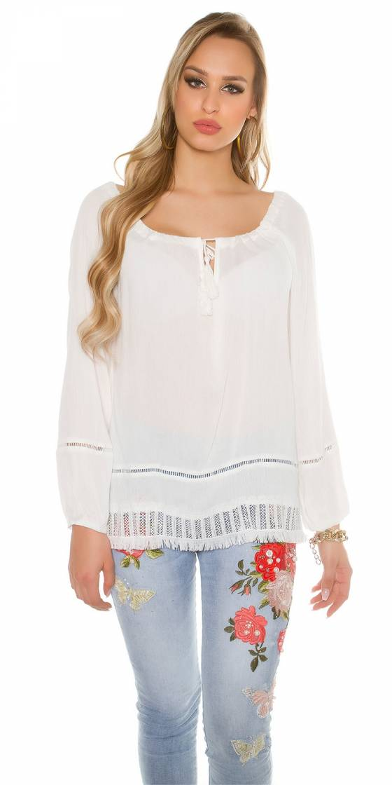 Trendy summer shirt with lace