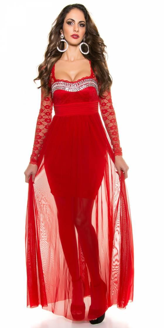 Tunique fashion avec ceinture LARA couleur rouge
