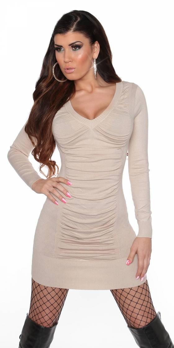 Robe femme fashion EMMA avec ceinture couleur beige