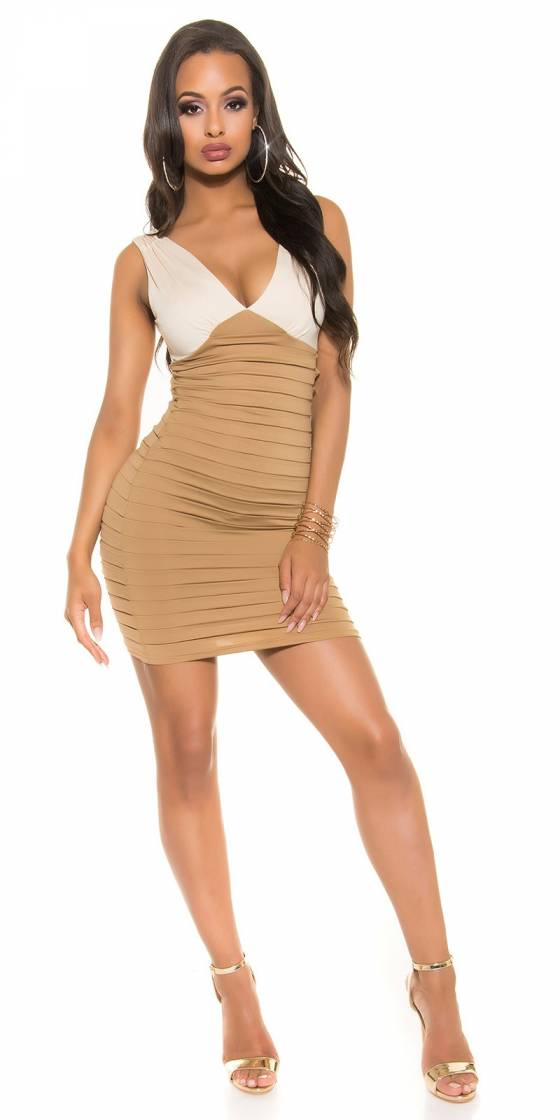 Robe-Long pull tendance sexy ELEONIE couleur cappuccino