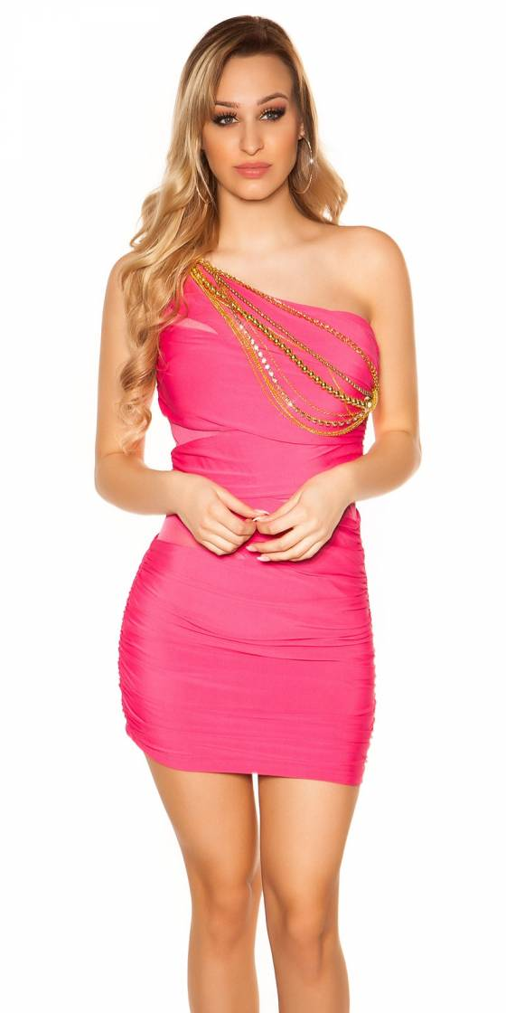 Robe sexy gogo ANNA couleur corail fluo