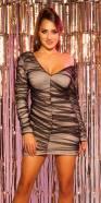 Mini-robe sexy à manches longues avec tulle