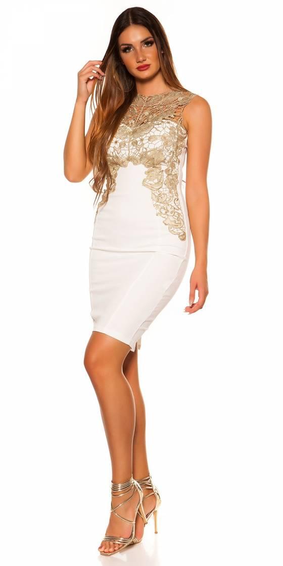 Pantalon femme tendance LESLY couleur blanc/or