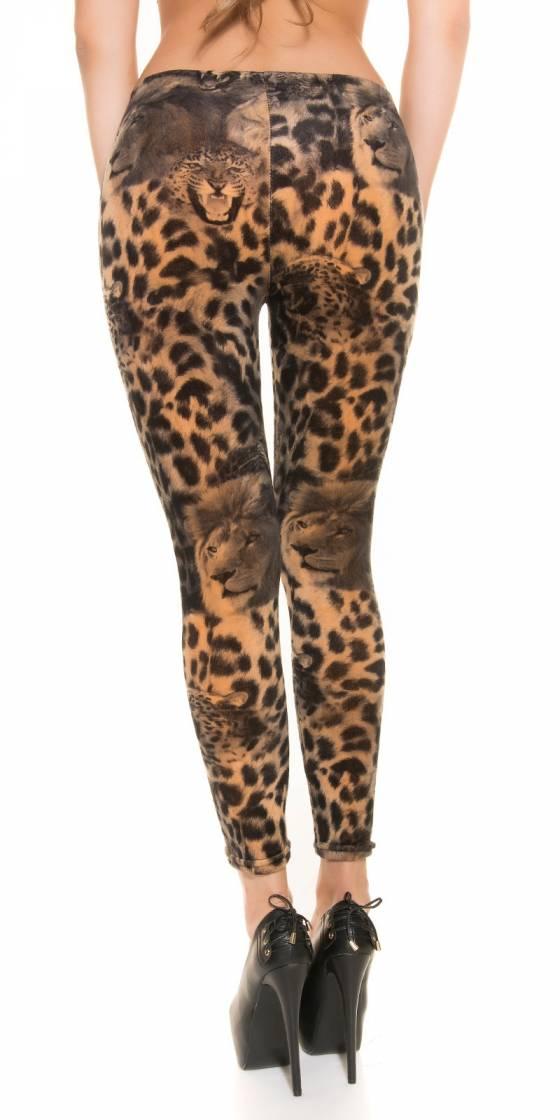 Leggings tendance fashion HANA couleur léopard/gris