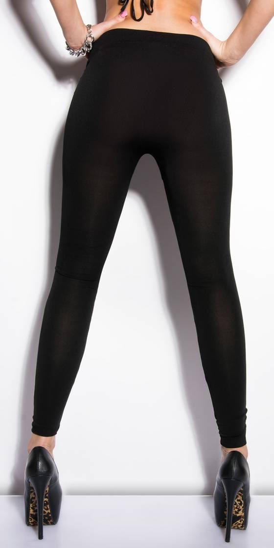 Leggings femme tendance LEENA couleur noir/violet