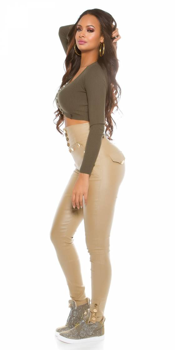 Long pull tendance sexy ELIANE couleur taupe