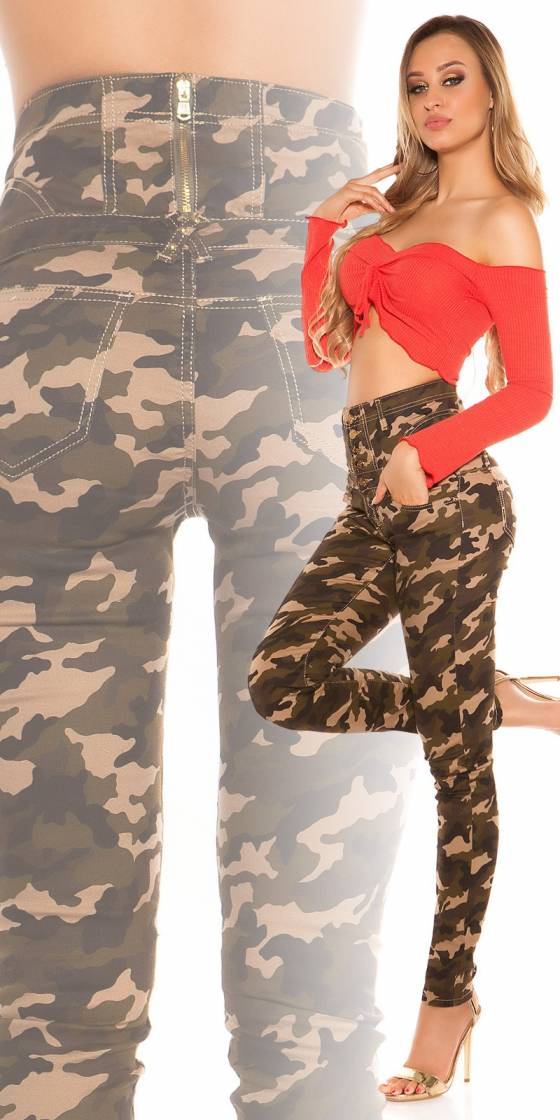 Jeans slim sexy camouflage