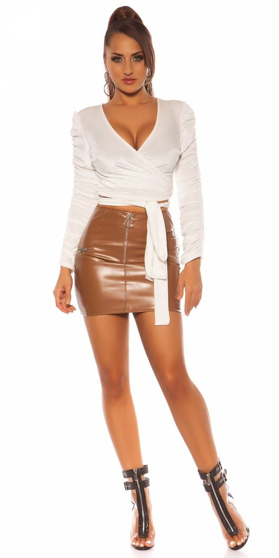 Sexy Leatherlook mini skrit...