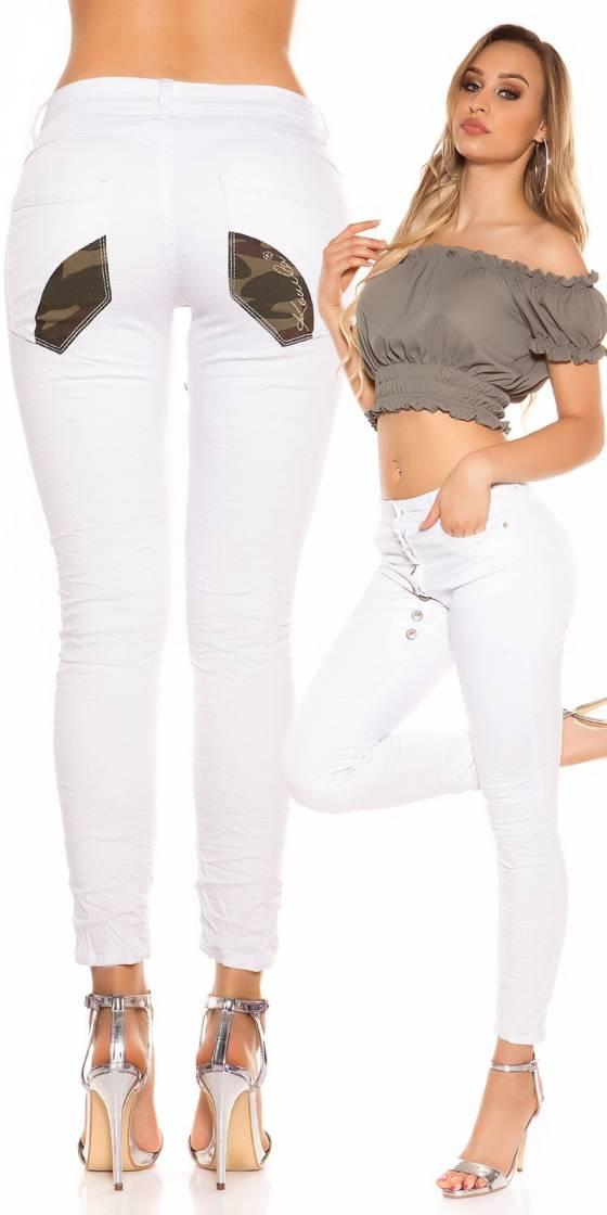 Jeans sexy entrejambe boutonné