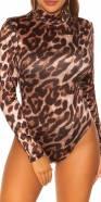 Body sexy à col roulé Koucla imprimé léopard