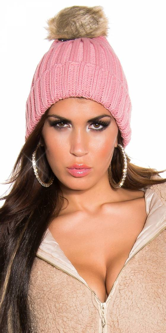 Trendy knitted hat with...