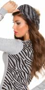 Trendy Zebra Basque cap with pompom