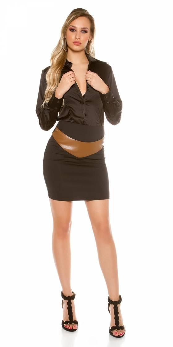 Collant bicolore sexy tendance JANICE couleur noir/beige
