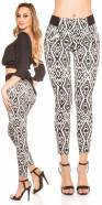 Pantalon skinny tendance en motif aztèque