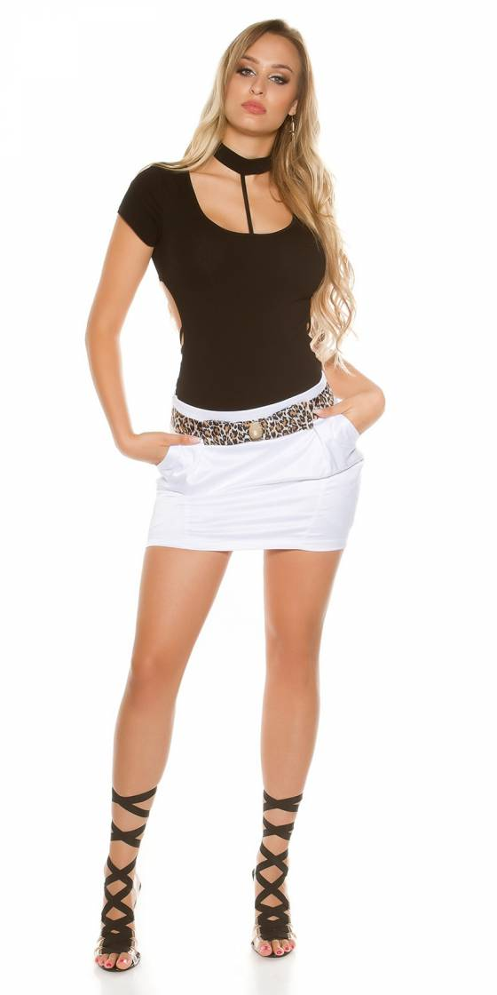 Ensemble sexy GLAMOUR (top-pantalon-ceinture) couleur rose
